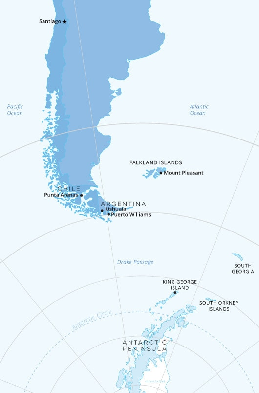 South America And Antarctica Map southamerica antarctic map | Arctic Travel Centre