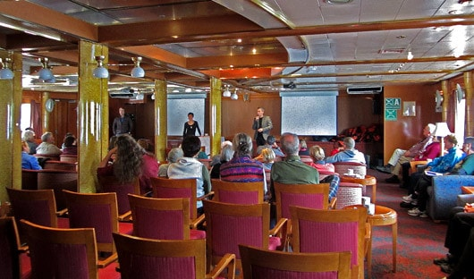 On board lecture, Greenland history