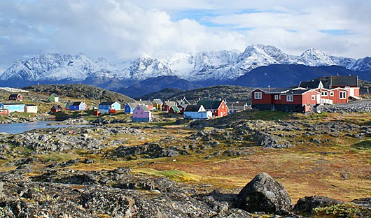 Small town in Greenland with mountains