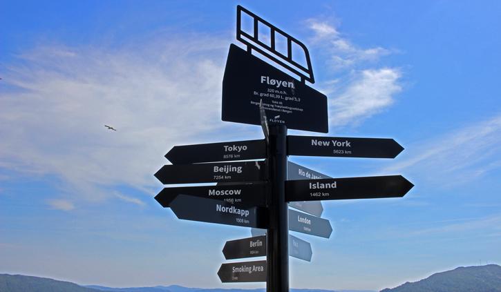 Sign on Floyen Mountain