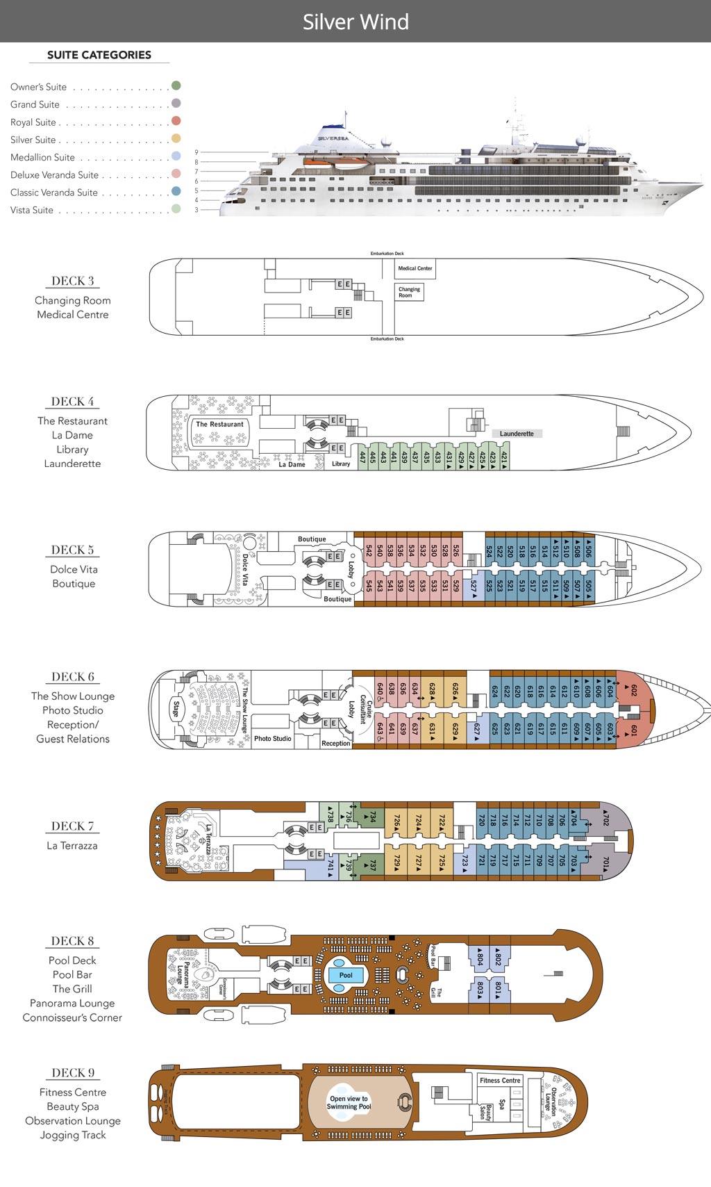 Silver Wind Deck Plan