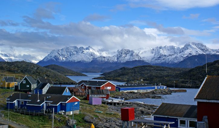 Greenlandic Town with Mountains