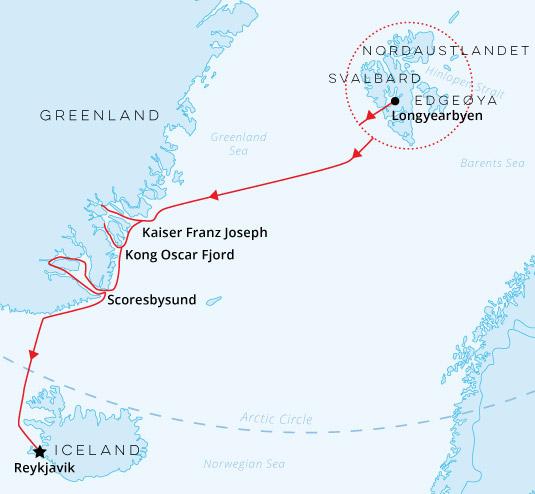 Arctic Complete Spitsbergen, Greenland, Iceland Map